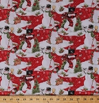 Cotton Snowman Snowmen Winter Cardinals Birds Christmas Holidays Snow Snowflakes Red Scenic Cotton Fabric Print by the Yard (64465-D650715)