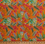 Cotton Tula Pink Cats Kittens Feline Animals Leaves Berries Tabby Road Disco Kitty in Marmalade Skies Cotton Fabric Print by the Yard (PWTP092-MARMA)