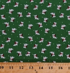 Cotton Scottie Dogs Doggies Scottish Terriers Pets Animals Holiday Winter Storybook Thirties 30's 1930's Green Christmas Cotton Fabric Print by the Yard (41747-2)