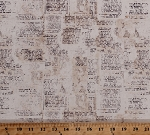 Vintage Love Notes French Words Print Font Writing Script Calligraphy Cream Cotton Fabric Print by the Yard (MFG Number)