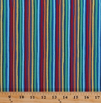 Cotton Colorful Stripes on Royal Blue Flight Path Rainbow Striped Cotton Fabric Print by the Yard (CX7149-ROYA-D)