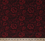 Cotton Red Flowers Poppies Poppy Floral French General Josephine Brown Red Cotton Fabric Print by the Yard (13654-17)