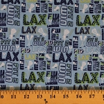Lacrosse Knit LAX Lacrosse Sticks Sports Blue Fabric by the Yard (2420F-4N)