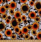 Matte Jersey Sunflowers Sunflower White Floral Flower Flowers Bloom Botanical Garden Polyester Blend Stretch Knit Fabric By the Yard (9013F-7M)