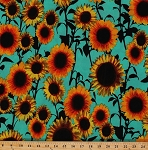 Matte Jersey Sunflowers Sunflower Floral Flower Flowers Bloom Botanical Garden on Blue Polyester Blend Stretch Knit Fabric By the Yard (9013F-7M)