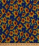 Matte Jersey Polyester Lycra Sunflowers Flowers Blooms Floral Botanical Yellow Blue Stretch Fabric By the Yard (3442F-2A)