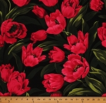 Cotton Michael Miller Large Ruby Tulips Allover Cotton Fabric Print by the Yard CX2487-Blac-D