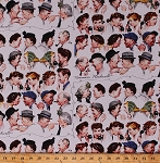 Cotton Norman Rockwell The Gossips Faces Gossip Chain Telephones Saturday Evening Post Painting Gossip Train White Vintage Cotton Fabric Print by the Yard (64355-A620715)