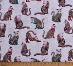 Cotton Cats Animals Feline Cat Kitty Paisleys Gold Metallic Shimmer Whimsical Cat-i-tude Artist-o-cats White Cotton Fabric Print by the Yard (4201M-09)