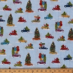 Cotton Wonderland Cars Christmas Tree Holiday Blue Snow Cotton Fabric Print by the Yard (1462)