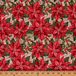 Cotton Poinsettia Holiday Christmas Floral Metallic Snowflake Cotton Fabric Print by the Yard (CP1002-593)