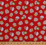 Cotton Homemade Jam Jars Strawberry Apple Fruit Jams Jelly Jellies Canned Food Kitchen Baking Country Cuisine Red Cotton Fabric Print by the Yard (6721-88)