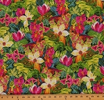 Cotton Lizard Lounge Tropical Floral Cotton Fabric Print by the Yard 7221G-7L