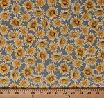Cotton Sunflowers Flowers Floral Blooms Gardens Gardening Botanical Nature Fall Autumn Bee My Sunshine Coordinate Gray Cotton Fabric Print by the Yard (43315-1)