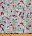 Cotton Happy Home Words Flowers Floral Cotton Fabric Print by the Yard 1649-23683-Q