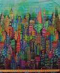 Cotton New York City Sky Line Skyline Cityscape City Scape Skyscraper Tower Buildings Urban Rainbow Multi-Colored Digital Print Cotton Fabric Print by Yard (N4234-130-MULTI)