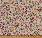 Cotton Tossed Floral Pink Purple Flowers on Beige Cotton Fabric Print by the Yard (JT-C4670-beige)