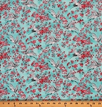 Cotton Michiko Oriental Floral Cranes Cotton Fabric Print by the Yard 7450-070