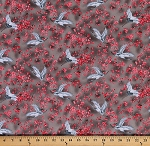 Cotton Michiko Oriental Floral Cranes Cotton Fabric Print by the Yard 7450-092