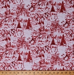 Cotton Winter Scene Deer Cardinals Birds Animals Holly Leaves Pine Trees Evergreens Nature Outdoors Cabin Snow Scenic Woodland Toile Red White Christmas Holiday Cotton Fabric Print by Yard (64470-A620715)