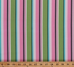 Organic Cotton Stripes Pink Green Blue White Striped Little One Sweet Pea Kids Children's Baby Babies Girls Cotton Fabric Print by the Yard (ake-11478-55-sweetpea)