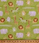 Cotton Animals Lions Zebras Giraffes Elephants Monkeys Alligators Crocodiles Green Grass African Wildlife Safari Sweet Dark Lime Green Kids Children's Cotton Fabric Print by the Yard (y0775-19)