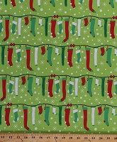 Cotton Stuff The Stockings Red Green White Christmas Stockings on Chartreuse Festive Holiday Cotton Fabric Print by the Yard (CX6628-GARL-D)