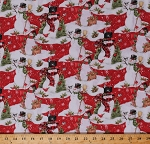 Cotton Snowman Snowmen Christmas Pine Trees Cardinals Snowflakes Snow Holidays Festive Winter Red Scenic Cotton Fabric Print by the Yard (64465-D650715)
