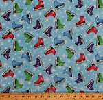 Cotton Ice Skates Snow Snowflakes Winter Holidays Ice Skating Flakey Friends Light Blue Cotton Fabric Print by the Yard (8592-011ltblue)