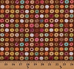 Cotton Mini Donuts Assorted Doughnuts Frosting Sprinkles Jelly Bakery Food Sweets Treats Caf-Fiend Brown Cotton Fabric Print by the Yard (1649-24804-A)
