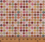 Cotton Mini Donuts Assorted Doughnuts Frosting Sprinkles Jelly Bakery Food Sweets Treats Caf-Fiend Cream Cotton Fabric Print by the Yard (1649-24804-E)