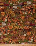 Cotton Harvest Pumpkins Apples Squash Fruits Vegetables Flowers Sunflowers Wagons Trucks Wheelbarrows Fall Autumn Gold Metallic Shimmer Thanksgiving Cotton Fabric Print by the Yard (harvest-cm5209-harvest)