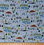 Cotton Camping Jeeps® Mountains Trees Stars Squirrels Foxes Pond Ducks Birds Outdoor Wildlife Landscape Nature Vacation Roadtrip Vehicles Transportation Scenic Blue J is for Jeep® Cotton Fabric Print by the Yard (C6460-Blue)