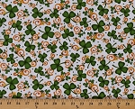 Cotton Lucky Shamrocks and Scrolls Saint Patrick's Day White Cotton Fabric Print by the Yard (1649-24220-Z)
