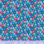 Cotton The Rainbow Fish Placed Silver Scales Marine Life Fishing Blue Purple Pink Red Green Metallic Cotton Fabric Print by the Yard (R11-9752-0750)