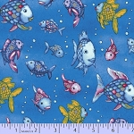 Cotton The Rainbow Fish Placed Silver Underwater Ocean Sea Marine Life Water Bubbles Metallic Kids Cotton Fabric Print by the Yard (R11-9750-0748)