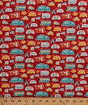 Cotton Campers Camping Trailers Caravans Road Trip Tents Tenting Vacation Teepee Trees Roads Travel Retro Red Cotton Fabric Print by the Yard (C5622-RED)