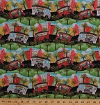 Cotton Food Trucks Rally BBQ Donuts Lunch Vehicles Driving Roads Trees City Buildings Concessions Fast Food Cook Cooking Food Truck Friday Cotton Fabric Print by the Yard (63375-1600715)