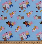 Cotton The Three Little Pigs Piggies Bricks Straw Sticks Piglets on Blue Folktale Folklore Fairytale Kids Cotton Fabric Print by the Yard (KH-C7120)