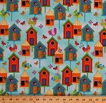 Cotton Flight Of Fancy Birdhouses Birds Butterflies Whimsical Folk Country Charm on Aqua Blue Birdwatchers Cotton Fabric Print by the Yard (3387-16)