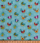 Cotton Flight Of Fancy Birds Birdwatchers Avian Whimsical Folk Country Charm on Aqua Blue Flowers Floral Cotton Fabric Print by the Yard (3386-16)