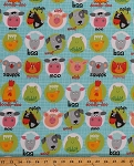 Cotton Funny Farm Animal Faces Heads Portraits Sheep Cow Cat Mouse Horse Dog Frog Chick Pig on Blue Kids Cotton Fabric Print by the Yard (3397-11)