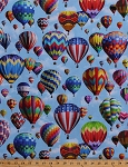Cotton Hot Air Balloons Ballooning Balloon Festival Aircraft Summer Blue Sky Clouds Patriotic Cotton Fabric Print by the Yard (P4343-16)