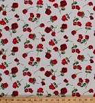 Cotton Red Roses Single Stem Roses Flowers Floral Botanical Blooms Blossoms Hearts Valentines Glamour Cotton Fabric Print by the Yard (C5048)