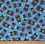 Cotton Thomas & Friends Characters Trains Train Engines Percy James Kids Children's Blue Cotton Fabric Print by the Yard (2005-77357-B)