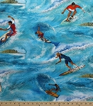 Cotton Sun Surf Sand Collection Surfer Blue Ocean Surfing Cotton Fabric Print By the Yard (1845-80436-473)