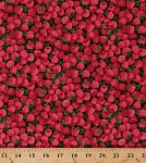 Cotton Raspberry Raspberries Berry Berries Farm Fresh Fruits Foods Gardening Gardeners Cooking Red Farmer J Garden Party Cotton Fabric Print by the Yard (120-13331)