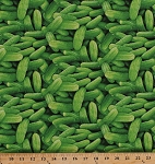 Cotton Green Cucumbers Pickles Cukes Farm Fresh Vegetables Veggies Gardening Gardener Food Festival Cotton Fabric Print by the Yard (437-green)