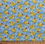 Cotton Rubber Ducks Ducklings Duckies Tub Toys Bathtub Bubbles Bath time Kids Cotton Fabric Print by the Yard (C5396)