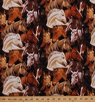 Cotton Horses Equestrian Southwestern Southwest Ranch Farming Animals on Black Best of the West Cotton Fabric Print by the Yard (06271-77)